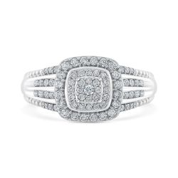 Ellaura Harmony Round Diamond Multi-Top Four-Row Band Engagement Ring 1/2ctw
