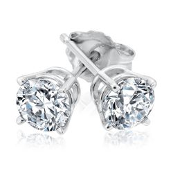 Classic Round Diamond Solitaire Earrings 1ctw