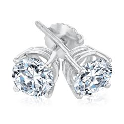 Classic Round Diamond Solitaire Earrings 2ctw