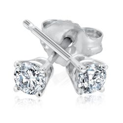 Classic Round Diamond Solitaire Stud Earrings 1/3ctw