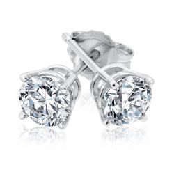 Classic Round Diamond Solitaire Stud Earrings 3/4ctw