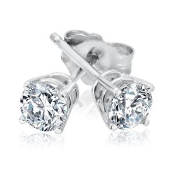 Classic Round Diamond Solitaire Stud Earrings 1/2ctw