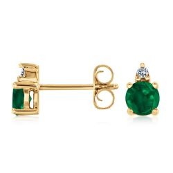 Round Emerald and Diamond Accent Yellow Gold Stud Earrings