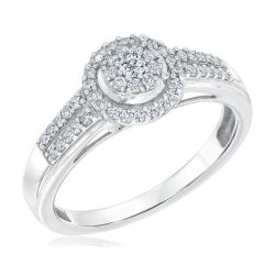 Round Frame Diamond Cluster True Promise Ring 1/3ctw
