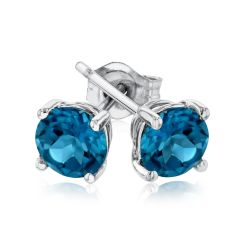 Round London Blue Topaz White Gold Solitaire Stud Earrings