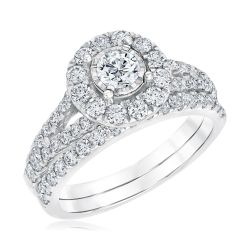 Ellaura Timeless Round Miracle Plated Diamond Engagement and Wedding Ring Bridal Set 1 1/2ctw
