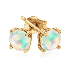 Round Opal Yellow Gold Solitaire Stud Earrings