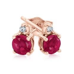 Round Ruby and Diamond Accent Rose Gold Stud Earrings