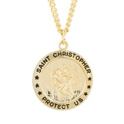 Round Saint Christopher Medallion Necklace