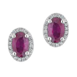 Ruby and Diamond Earrings 1/8ctw