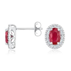 Ruby and Diamond Halo Earrings 1/6ctw