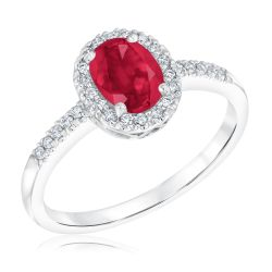 Ruby and Diamond Halo Ring 1/6ctw
