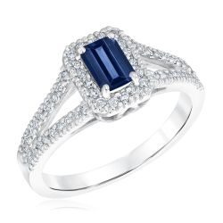 Blue Sapphire and Diamond Split Shank Ring 1/4ctw