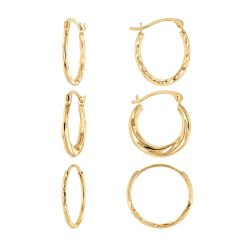 Set of 3 Yellow Gold Textured Hoop Earrings