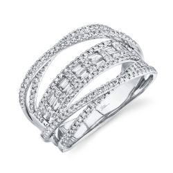 Shy Creation Baguette and Round Diamond Crossover Ring 3/4ctw