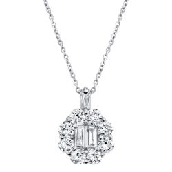 Shy Creation Baguette and Round Diamond White Gold Pendant Necklace 5/8ctw
