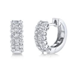 Shy Creation Baguette Diamond Huggie Hoop White Gold Earrings 1 1/8ctw
