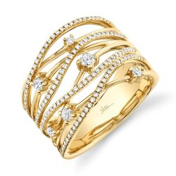 Shy Creation Diamond Bridge Right Hand Yellow Gold Ring 1/2ctw