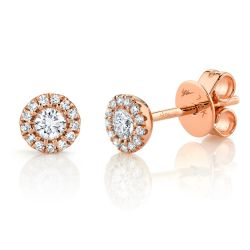 Shy Creation Diamond Halo Stud Rose Gold Earrings 1/4ctw