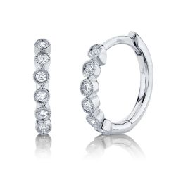 Shy Creation Diamond Huggie Hoop White Gold Earrings 1/10ctw