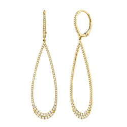 Shy Creation Diamond Open Teardrop Yellow Gold Earrings 3/4ctw
