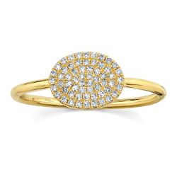 Shy Creation Diamond Pavé Oval Yellow Gold Ring 1/6ctw
