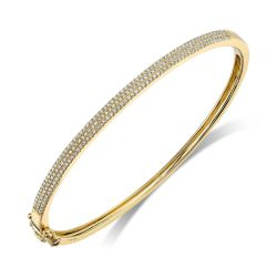 Shy Creation Diamond Pavé Yellow Gold Bangle Bracelet 1/2ctw
