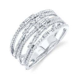 Shy Creation Multi-Row Baguette and Round Diamond White Gold Ring 5/8ctw