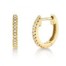 Shy Creation Round Diamond Huggie Hoop Yellow Gold Earrings 1/15ctw