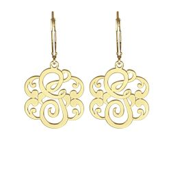 Alison and Ivy Single Initial Leverback Monogram Earrings 25mm