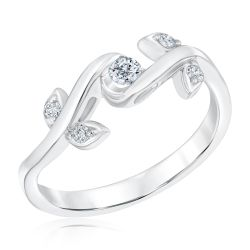 Sirena Diamond Rose Ring in White Gold 1/7ctw