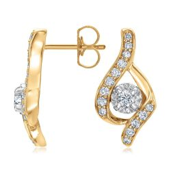 Sirena Two-Tone Diamond Bypass Earrings 1/3ctw