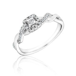Square Frame Diamond Promise Ring 1/6ctw