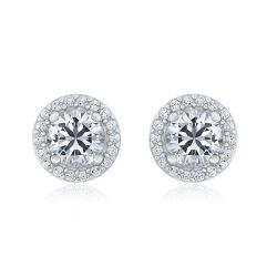 Sterling Silver Created White Sapphire Halo Earrings