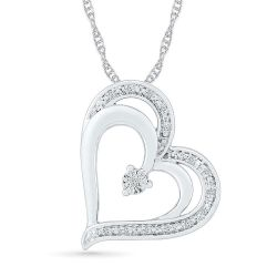 Sterling Silver Diamond Accent Double Heart Pendant