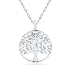 Sterling Silver Diamond Accent Tree of Life Pendant