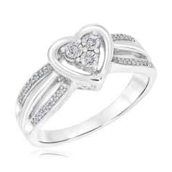 Sterling Silver Diamond Heart and Three Row Promise Ring 1/15ctw