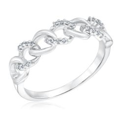 Sterling Silver Diamond Interlocking Curb Link Ring 1/15ctw