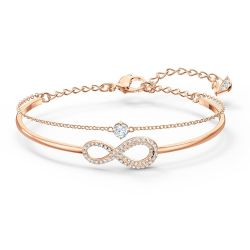 Swarovski Crystal Infinity Rose Gold-Tone Bangle Bracelet