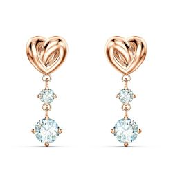 Swarovski Crystal Lifelong Heart Rose Gold-Tone Drop Earrings