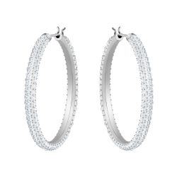 Swarovski Crystal Stone Rhodium-Plated Hoop Earrings