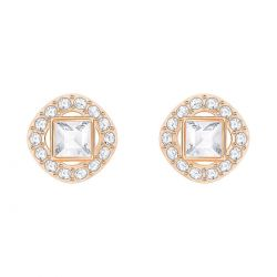 Swarovski Crystal White Angelic Square Rose Gold-Tone Earrings