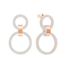 Swarovski Crystal White Hollow Chandelier Rose Gold-Tone Earrings