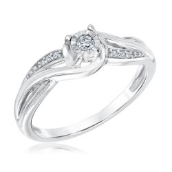 Swirling Diamond True Promise Ring 1/15ctw