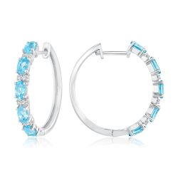 Swiss Blue Topaz and Created White Sapphire Hoop Earrings