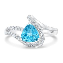 Swiss Blue Topaz and Created White Sapphire Ring
