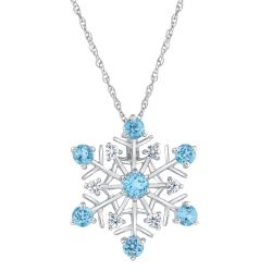 Swiss Blue Topaz and White Sapphire Snowflake Pendant