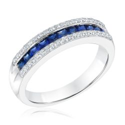 Three-Row Created Blue Sapphire and Created White Sapphire Sterling Silver Band