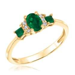 Three-Stone Emerald and Diamond Accent Ring 1/20ctw