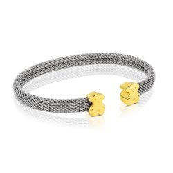 TOUS Small Bear Stainless Steel and Yellow Gold Mesh Cuff Bracelet